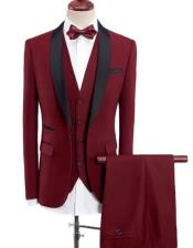 Wine Red Solid Three Wool Blend Three-piece Suit