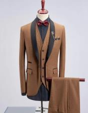 Khaki Solid Four-Button Shawl Lapel Three-piece Suit
