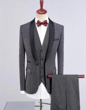 Gray Solid Four-Button Wool Blend Three-piece Suit