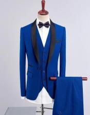 Dark Blue Solid Four-Button Wool Blend Three-piece Suit