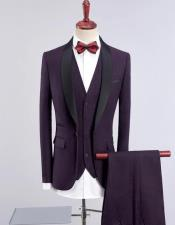 Dark Purple Solid Three Wool Blend One Button Tuxedos