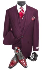 Mens Eggplant Peak Lapel Double Breasted
