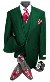 Mens Hunter Green Peak Lapel Double