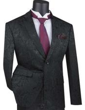 Mens Black Paisley Slim Fit Prom