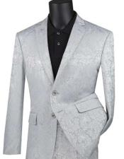 Silver Paisley Slim Fit Prom Suit