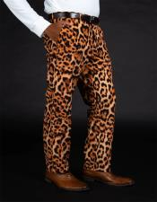 Mens100%PolyesterSlimFitLeopardPrintPants