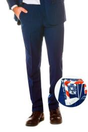 100% Polyster Fabric Dress Slacks Slim Fit Navy Pants