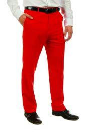 Red 100% Polyster Fabric Dress Slacks Slim Fit Pants