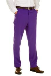 Purple 100%Polyster Fabric Dress Slacks  Slim Fit Pants