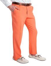 Pastel Orange 100% Polyster Fabric Dress Slacks  Slim