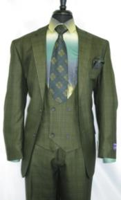 Vintage Suits Patterns Checkered Suit In Olive Green