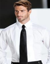 White Pleated Laydown Tuxedo Shirt