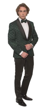 Green One Button Shawl Lapel Slim Fit Suit