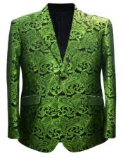Olive Green and Black Paisley Tuxedo