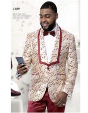 Wedding Paisley Floral Tuxedo Jacket ~Blazer Ivory ~ Burgundy