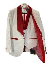 PromWeddingPaisleyFloralTuxedoJacket~BlazerWhiteandRed