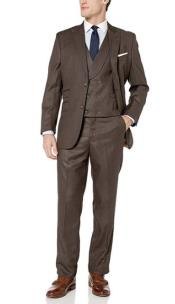 Brown Fully Lined Dual Side vents Double Breasted Suit