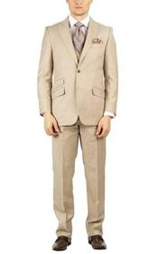 Mens Beige Hook-and-Button Double Breasted Modern