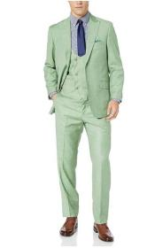 Green Fully Lined Hook-and-Button Double Breasted Suit - 3