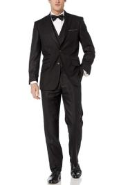 Black Hook-and-Button Double Breasted Modern fit suit - 3