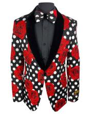 Red Tuxedo Mens Black and White