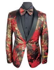 Red and Gold Shawl Lapel Two Button Tuxedo Suit