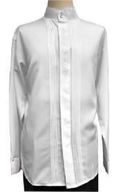 Collar ~ Banded Collar Dress Shirts White