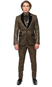 Gold Shawl Lapel Single Breasted One Button Suit