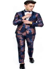 One Button Single Breasted Blue ~ Gold Suit