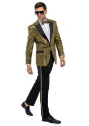 Gold Besom Pockets Peak Lapel One Button Suit