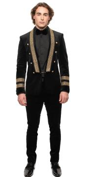Six Button Single Breasted Black ~ Gold Suit