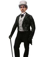 Men Steampunk Suit Outfit Costumes Black