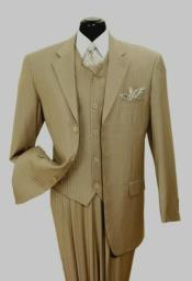 Mens Tan/Stripe Notch Lapel Big And