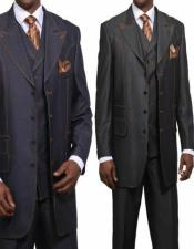 Black ~ Navy Peak Lapel Big