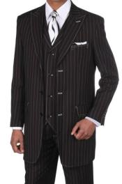 Black Regular Fit Striped Big And