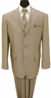 Tan 3 Button Notch Lapel Big