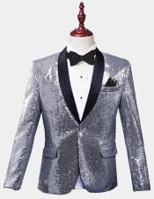 Silver Sequin Tuxedo Jacket Perfect For