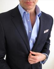 Mens Navy Blue Notch Lapel Single