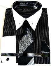 Black PinStripe Colorful Mens Dress Shirt