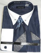Navy PinStripe Colorful Mens Dress Shirt