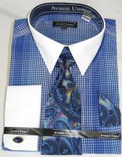 Blue Houndsiooth Colorful Mens Dress Shirt