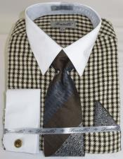 BrownHoundstoothColorfulMensDressShirt