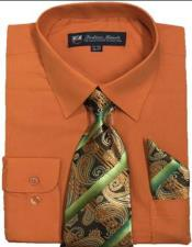 Mens Dress Shirts Tie Set Orange
