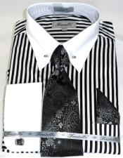 Black/White Stripe Colorful Mens Dress Shirt
