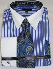 Blue Stripe Colorful Mens Dress Shirt