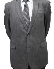 Long 2PC Solid Color Charcoal Herringbone Mens Suit