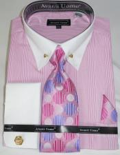 Pink Pencil Stripe Colorful Mens Dress
