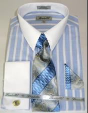 Colorful Pinstripe Pattern - White Collared - French Cuffed