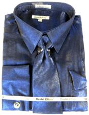 Navy Blue Colorful Mens Sateen Dress