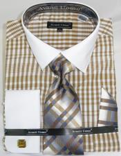 Colorful Plaid - Checker Pattern White Collared French Cuffed